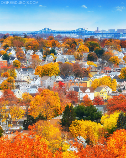 Tobin Bridge over Autumn Colored Neighborhoods of Malden Massachusetts