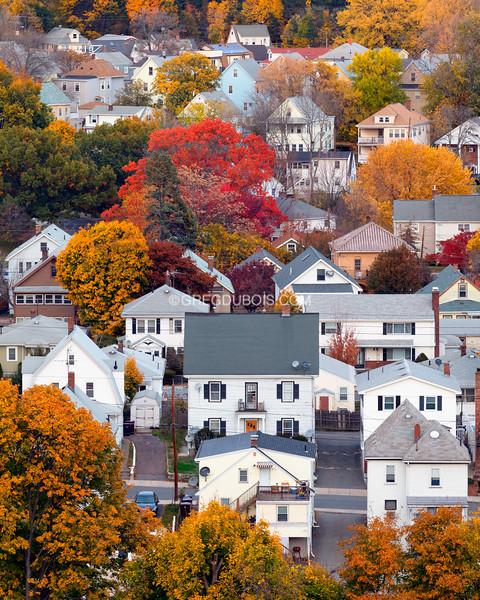 Boston Suburban Neighborhood in Fall