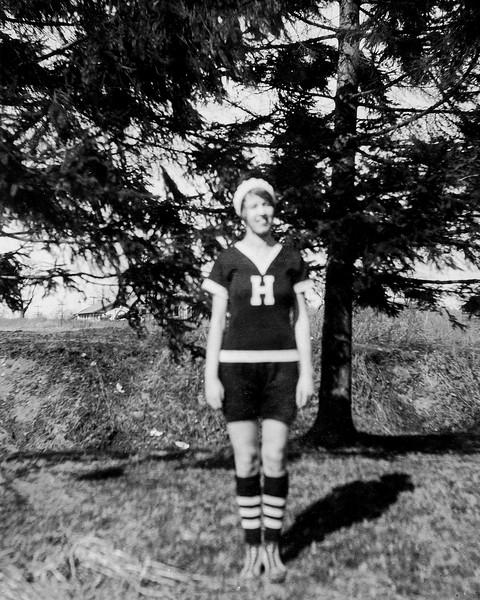 Muriel in Haverstraw High sports uniform - March 1929