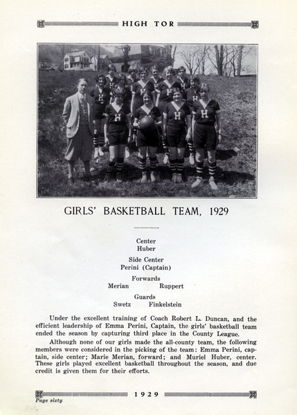 Haverstraw 1929 Varsity Basketball Team  with Muriel