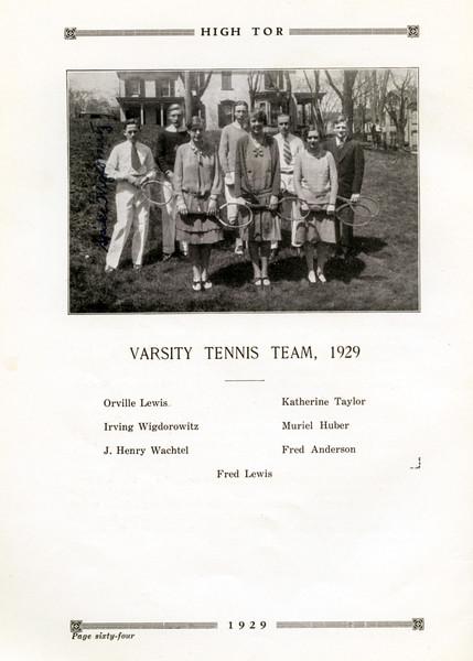 Haverstraw 1929 Varsity Tennis Team  with Muriel