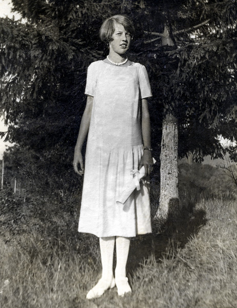 Muriel holding Haverstraw High School diploma - June 1929