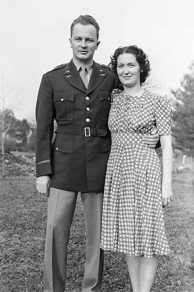 Dad in WW II officer's uniform with Mom - Easter 1942