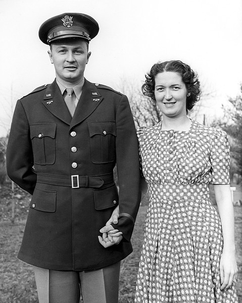 Dad & Mom, 1943.  They met while both worked at Spencer Kellogg.