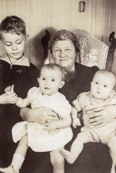 Grandma with Roger, Nancy & R0bert - May 1944
