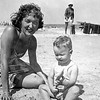 Mom with Greg on the beach - July 1949