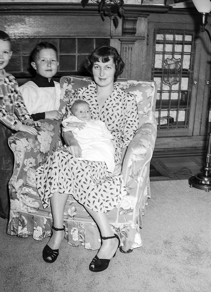 Mom holding Barry with Greg & Robert - October 19, 1952