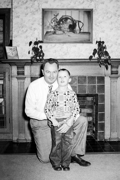 Dad & Greg in Hackensack's living room - October 1952