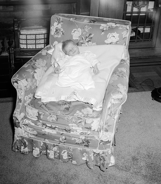 Barry napping in living room chair - October 1952