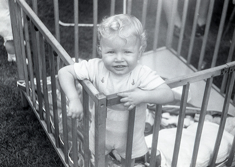 Barry in his crib - 1953