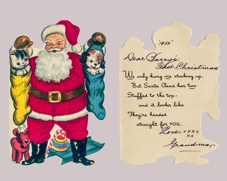 Barry's 1st Christmas - card from Grandma - 1952