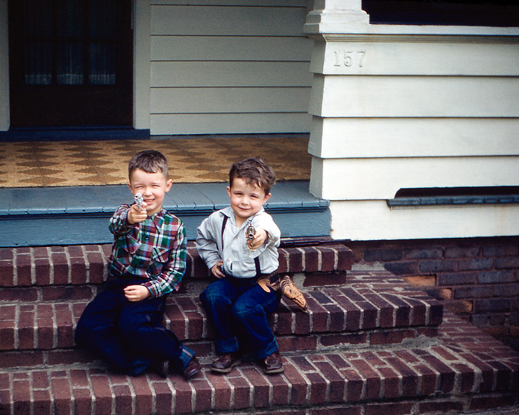 Greg & David Hoover on front steps of 157 Prospect Ave. - May 1954