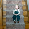 Barry on stairs - Christmas 1954