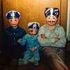 Greg, Barry & Robert wearing masks - Halloween ? - 1954