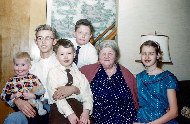 Grandma with her 5 grandchildren - Christmas 1955
