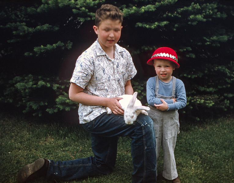Robert holding Hoppie with Barry - 1955