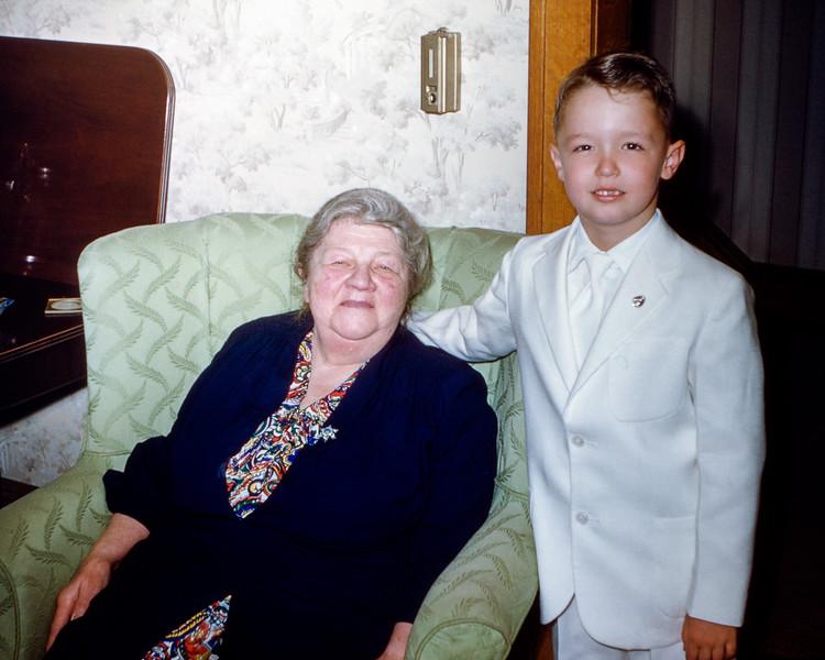 Greg with Grandma - April 1955