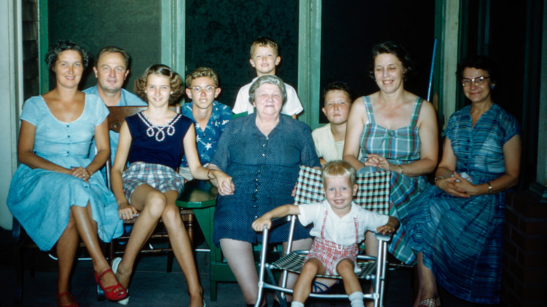 Family photo on Grandma's birthday with Dad - 1955