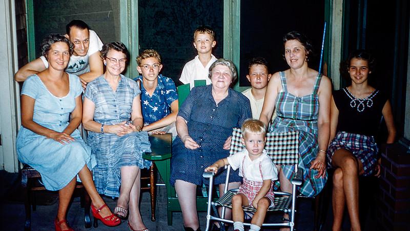 Family photo on Grandma's birthday with Len - 1955