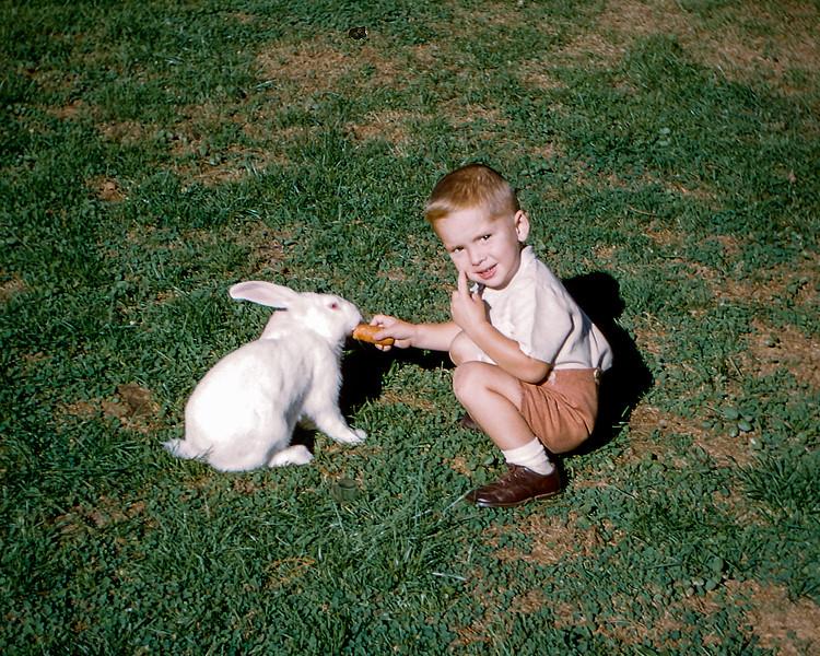 John feeding Hoppie - 1955