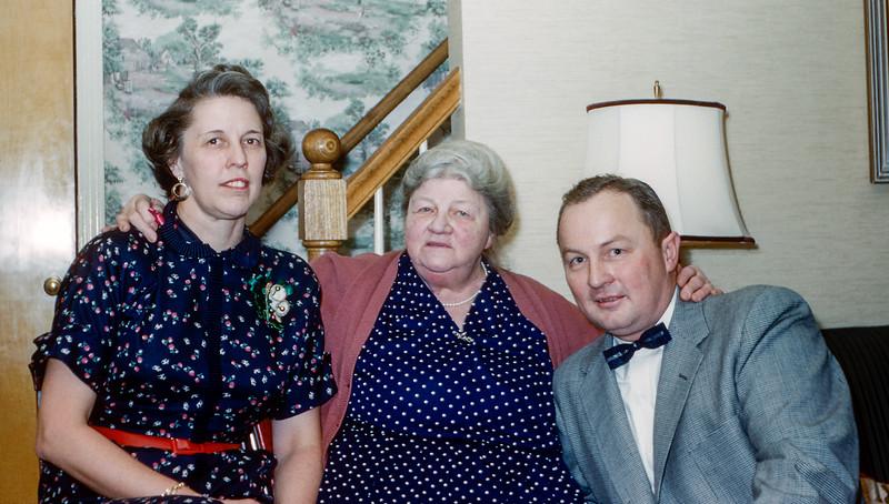 Grandma with Aunt Muriel & Dad - Christmas 1955