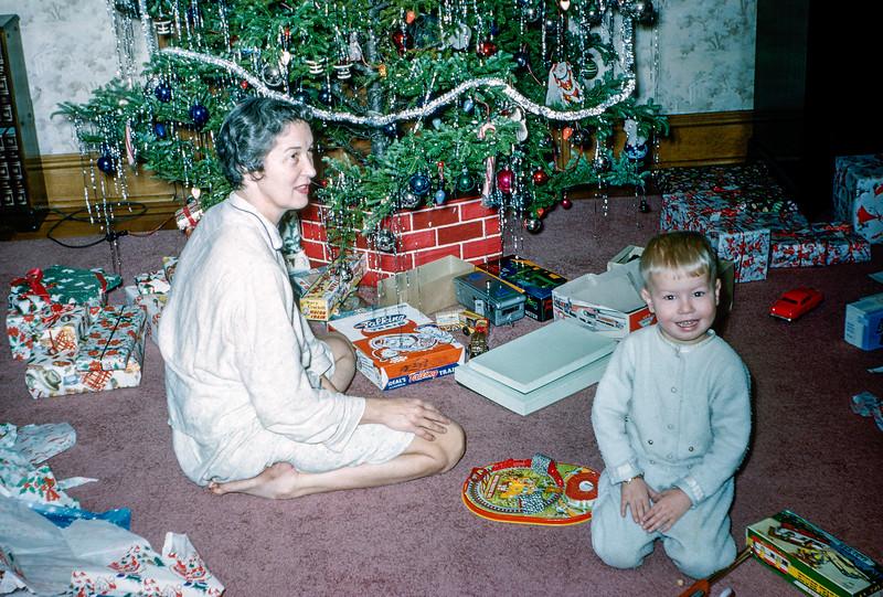 Mom & Barry - Christmas 1955