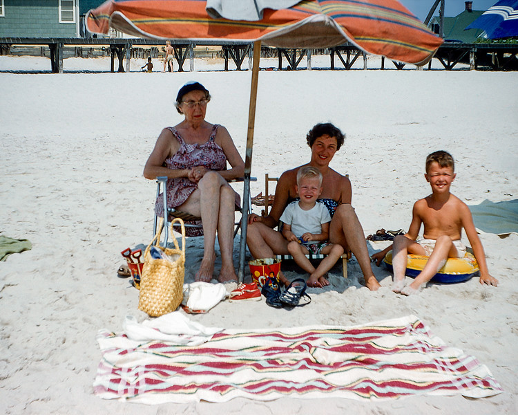 Nana, Mom, Barry & Greg - Lavallette 1955