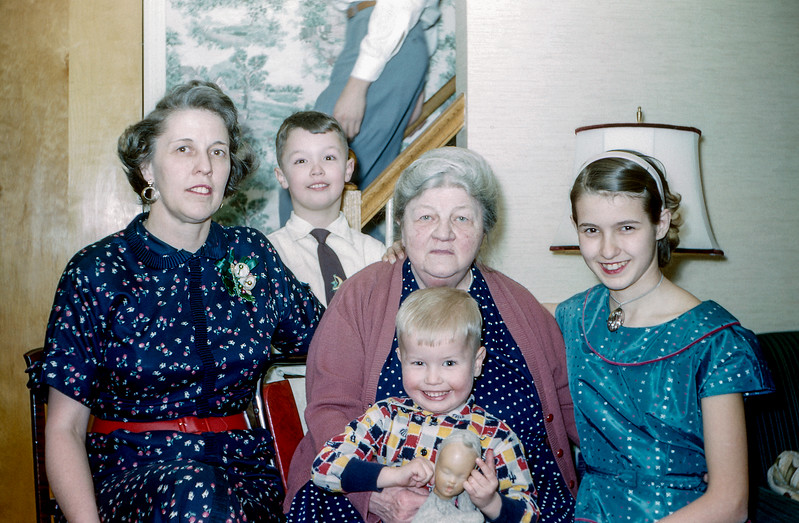 Aunt Muriel, Greg, Grandma, Barry & Nancy - Christmas 1955