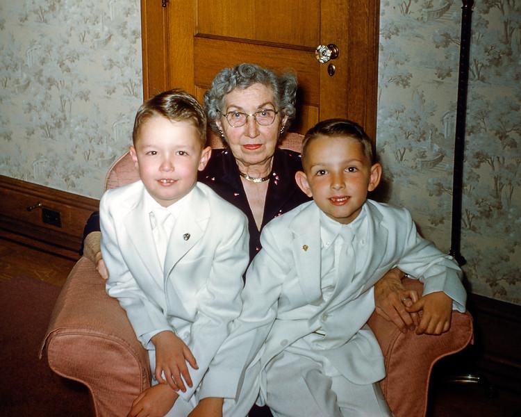 Greg & Sonny with Nana - April 1955