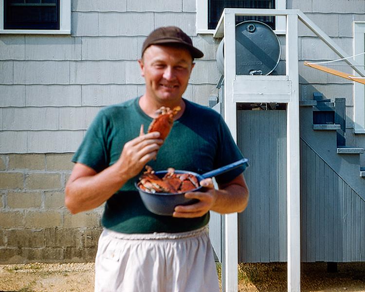 Dad holding crab - 1955