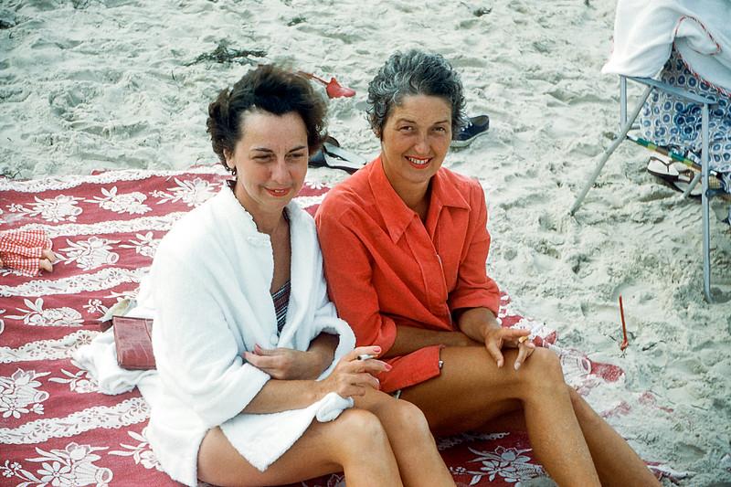 Mom with Rita - Lavallette - 1957