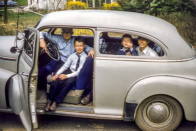 Four cousins in Roger's car at the Stafford's - April 1957