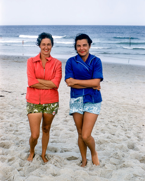 Mom & Nalada shivering on the beach - Lavallette - 1957