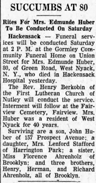 Edmunde Huber Obituary - The Record - April 25, 1957