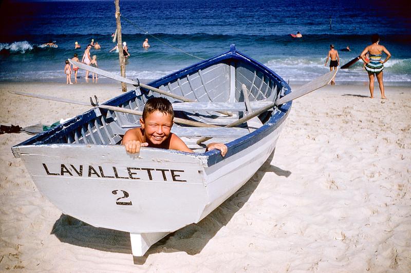 Greg in rescue boat - Lavallette - July 1957