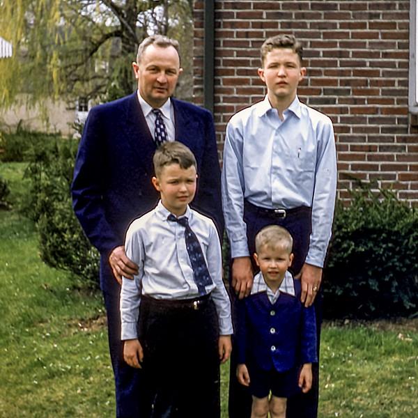 Dad with Robert, Greg & Barry - April 1957