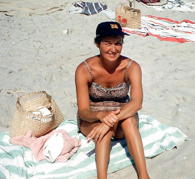Mom in sailor's cap - Lavallette - 1957