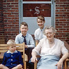 Greg & Barry with Nancy & her Great Aunt Maud - April 1957