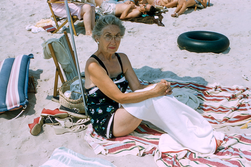 Nana under the umbrella - Lavallette - 1957