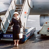 Aunt Muriel about to board her plane to California - May 1957