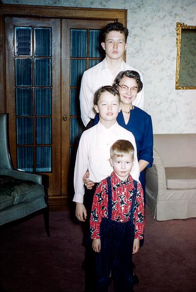Robert, Aunt Florence, Greg & Barry  - Christmas 1957