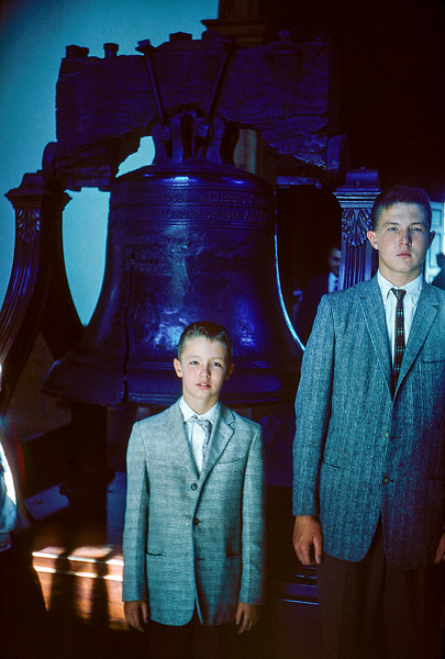 Greg & Robert by the Liberty Bell - August 30, 1958