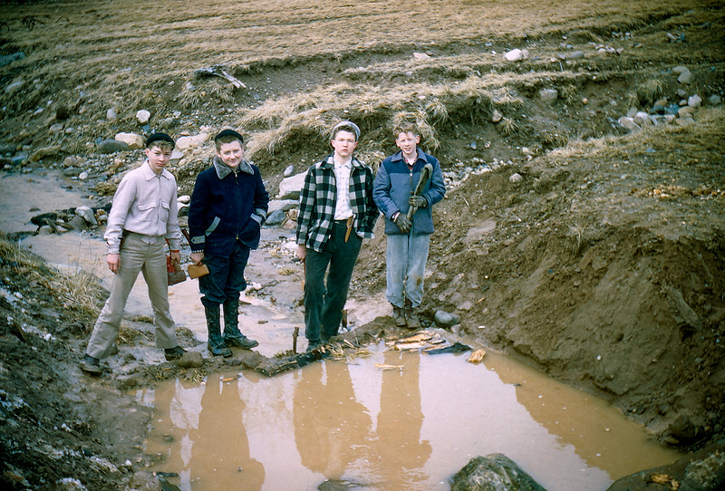 Robert & scouts working on project - March 1, 1958
