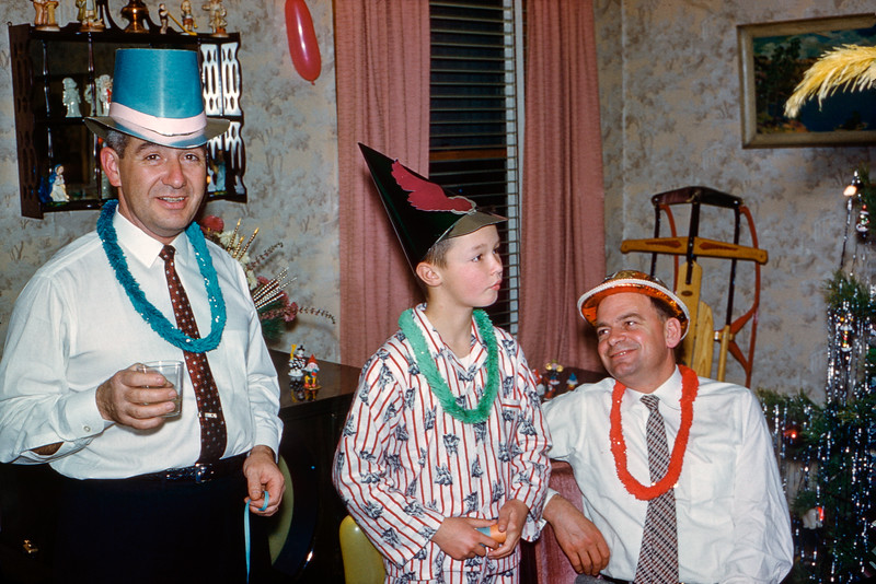Greg up late for the New Year's party - 1958