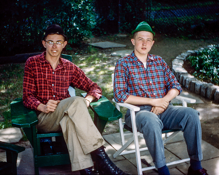 Roger & Robert on the new patio - 1958