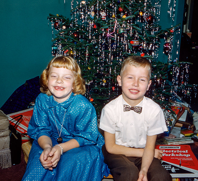 Barry with Kathy at Christmas - 1959