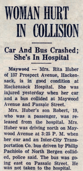 Accident reported in 'The Record' newspaper April 16, 1963