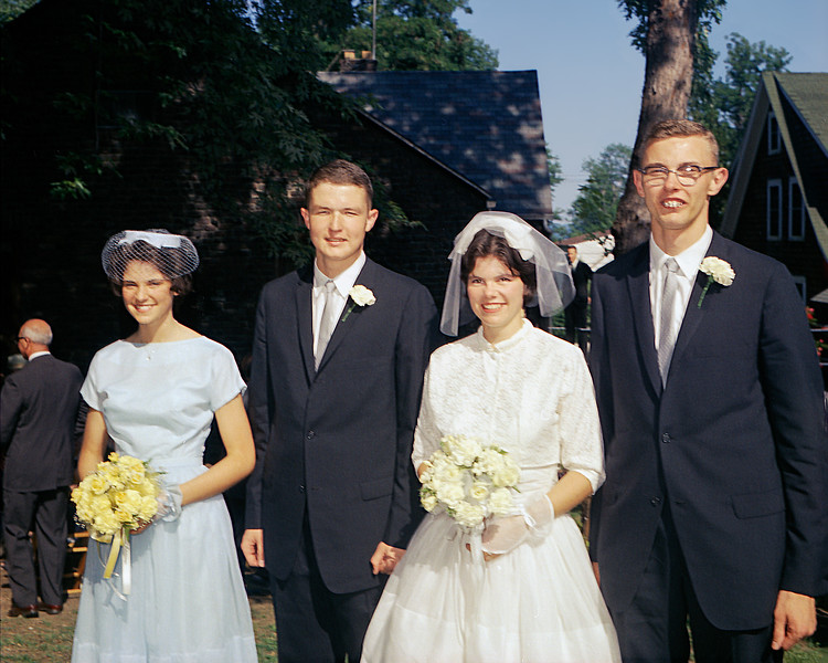Roger & Mary Anne with their wedding party - 1962