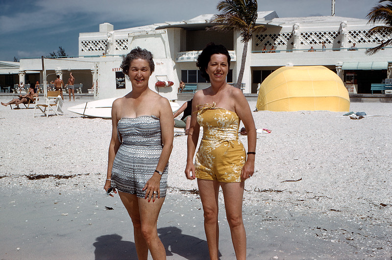Sarasota - Mom & cousin Peggy on the beach - 1962