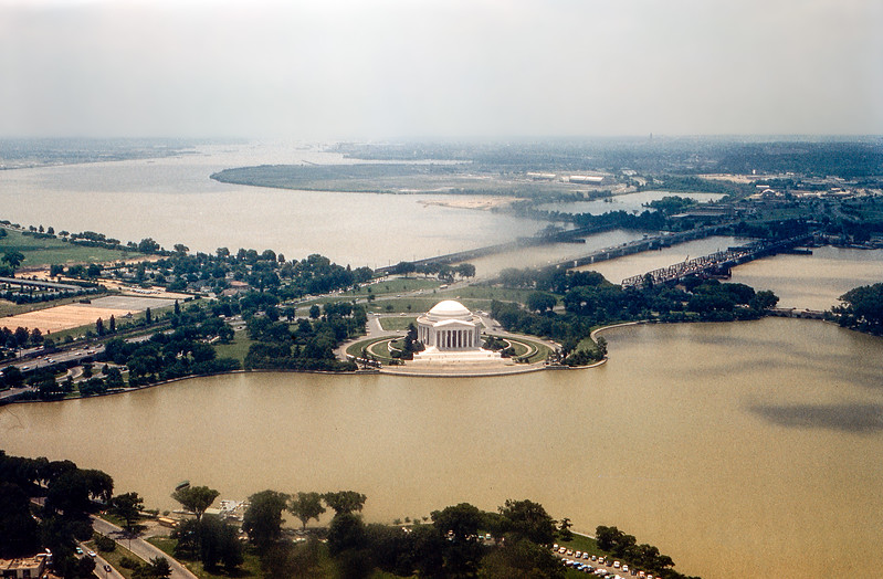 The Potomac river  & Jefferson Memorial seen from atop the Washington Monument - 1960